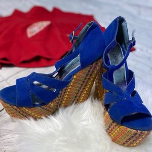 Blue colorful wedges